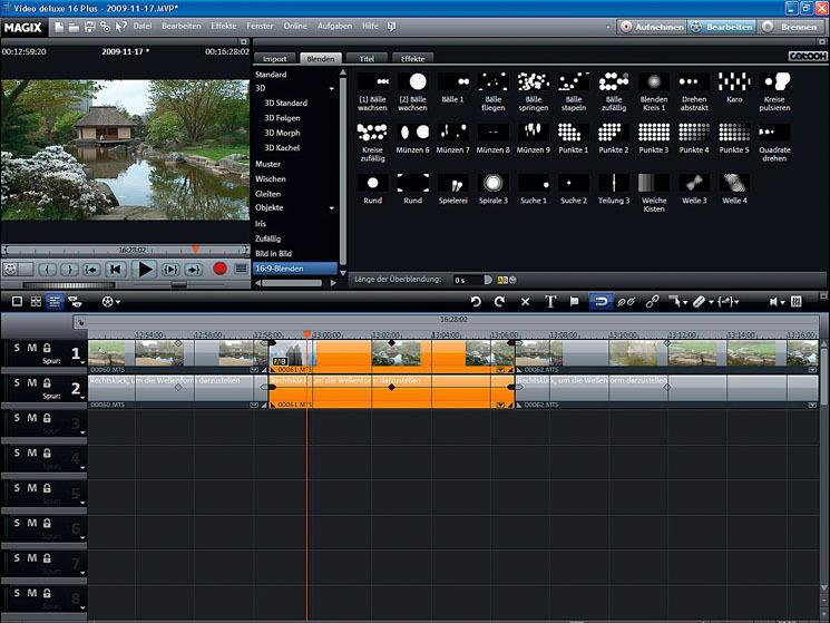 test videobearbeitungs programm magix video deluxe 16 plus hd und sd computer bild. Black Bedroom Furniture Sets. Home Design Ideas