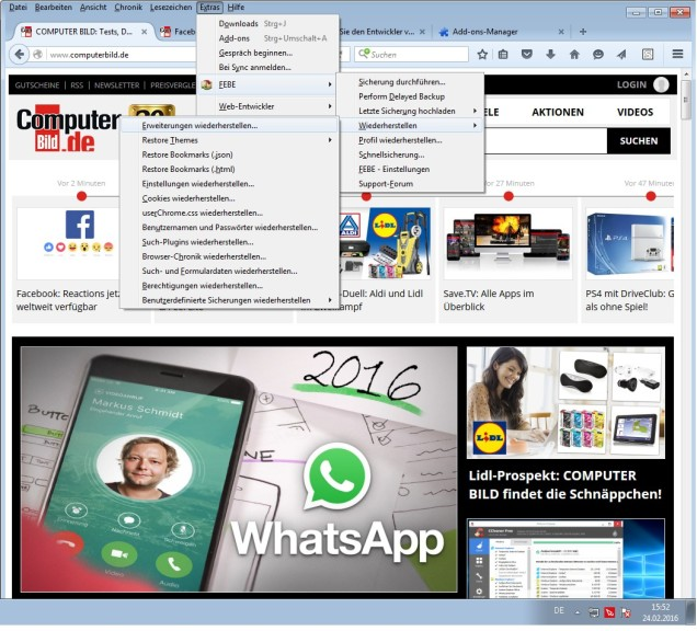 Screenshot 1 - Firefox Environment Backup Extension (FEBE)