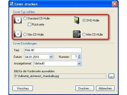 CDBurnerXP: Cover-Typ festlegen