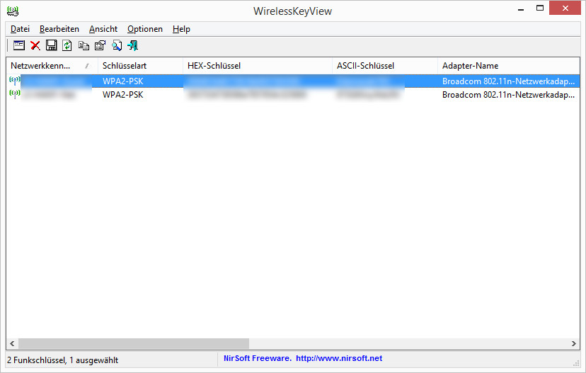 Screenshot 1 - WirelessKeyView