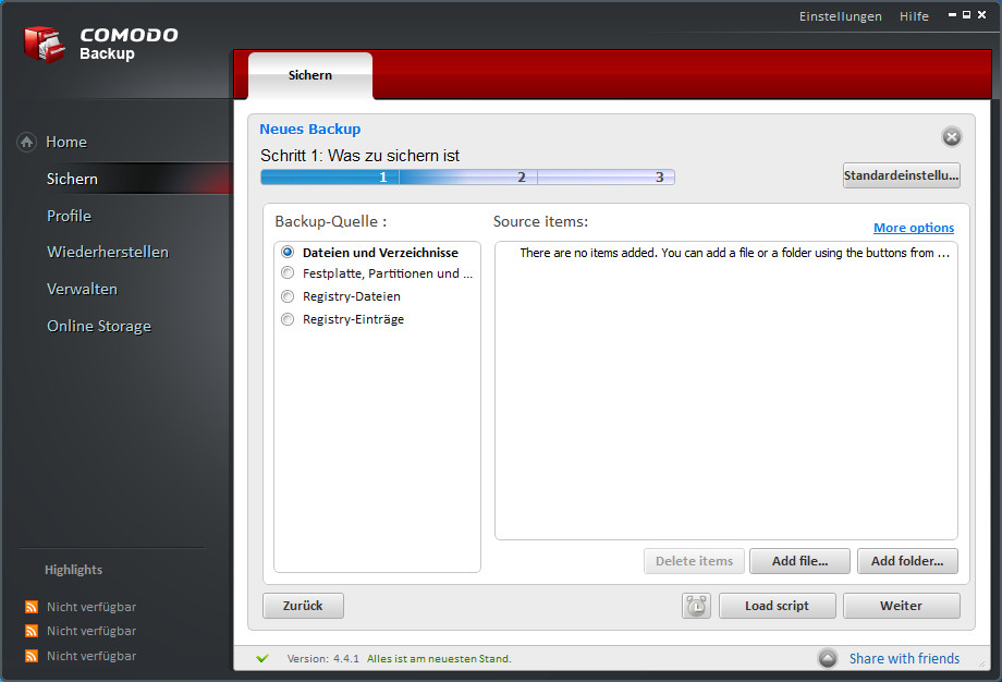 Screenshot 1 - Comodo BackUp