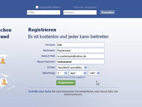 Registrierung: Facebook