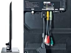 Samsung UE40B6000 Das Gehäuse des Samsung UE40B6000 ist dank LED-Technik nur 3,7 Zentimeter dünn. Für Anschlüsse bleibt an der Rückseite nicht viel Platz.