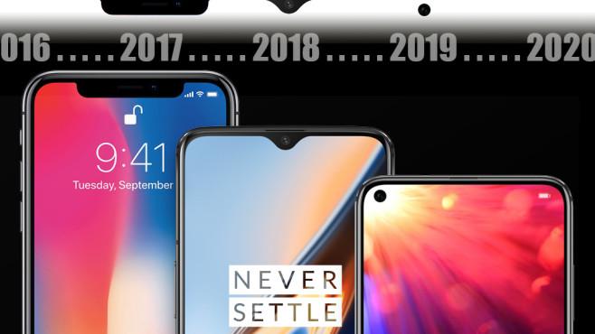 NoNotch: Handy-Entwicklung von 2016 bis 2019©Apple, OnePlus, Honor, COMPUTER BILD