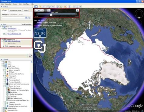 Google Earth: Entwicklung des Eismeeres verfolgen