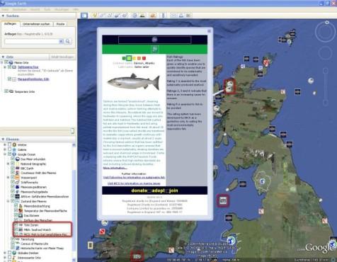 Google Earth: Fischbestände einsehen