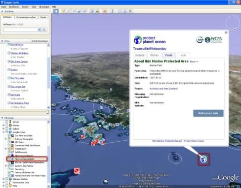 Google Earth: Meeresschutzgebiete finden