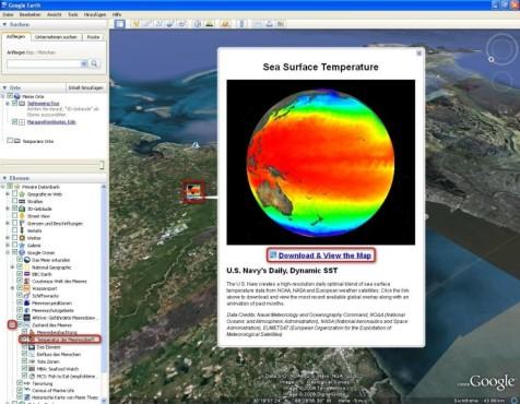 Google Earth: Temperatur der Meeresoberfläche einblenden