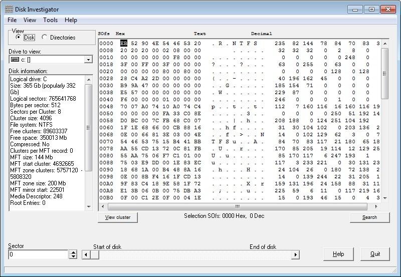 Screenshot 1 - Disk Investigator