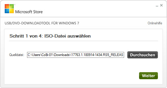 Screenshot 1 - Windows USB/DVD Download Tool