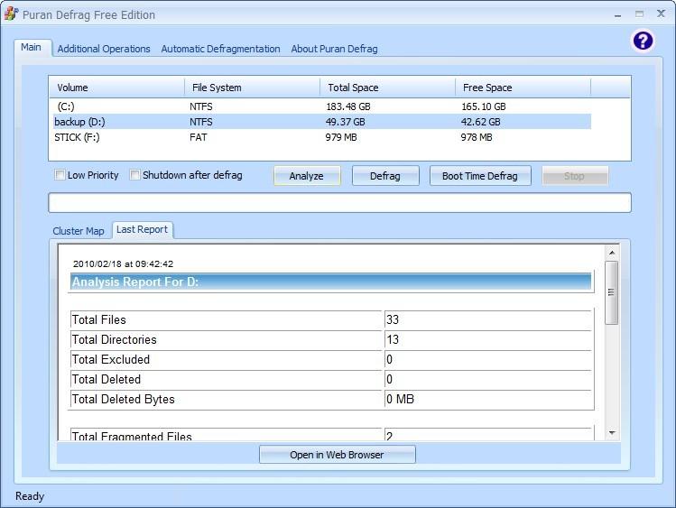 Screenshot 1 - Puran Defrag Free Edition