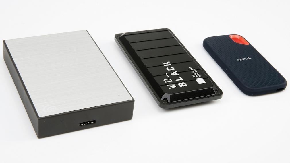 Größenvergleich externe Festplatte (HDD) gegen SSD