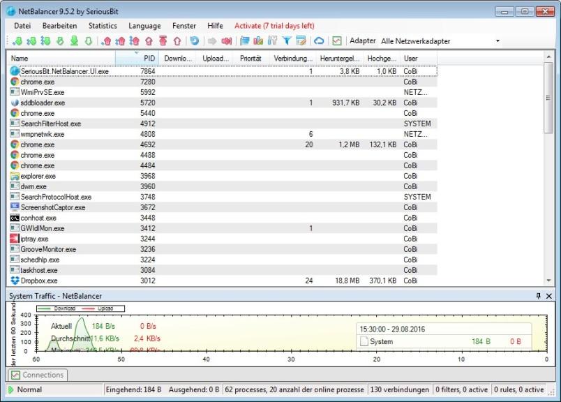 Screenshot 1 - NetBalancer