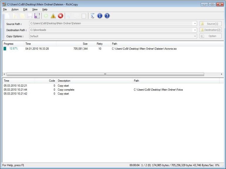 Screenshot 1 - RichCopy