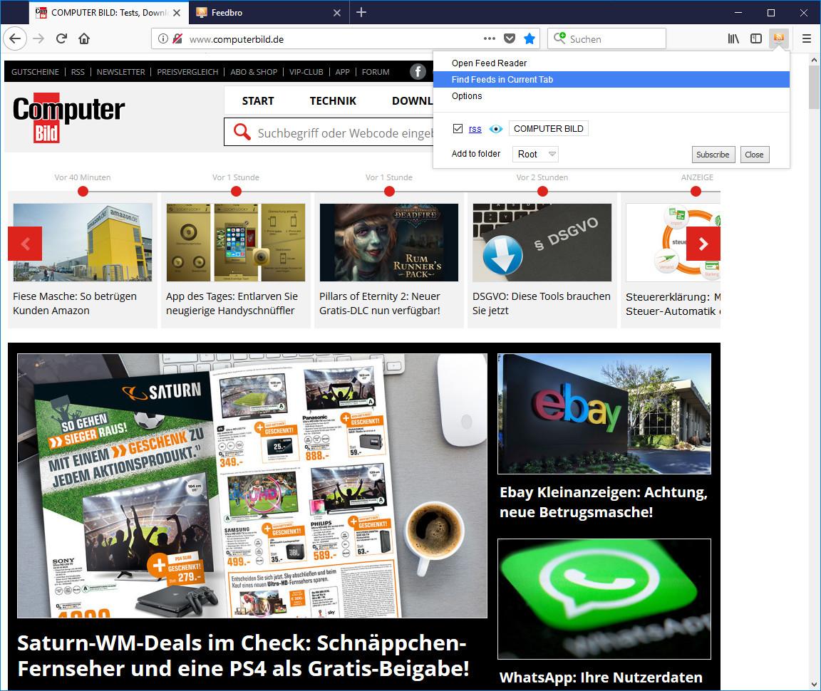 Screenshot 1 - Feedbro Reader für Firefox