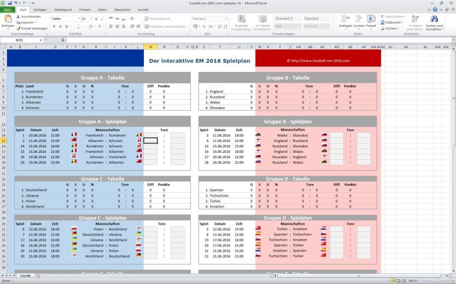 Screenshot 1 - Fußball-EM-Planer 2016 für Excel