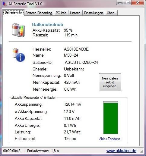 Screenshot 1 - AkkuLine Batterie Tool