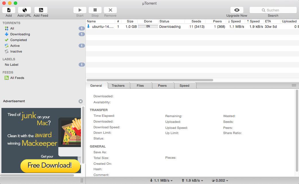 Screenshot 1 - uTorrent (Mac)