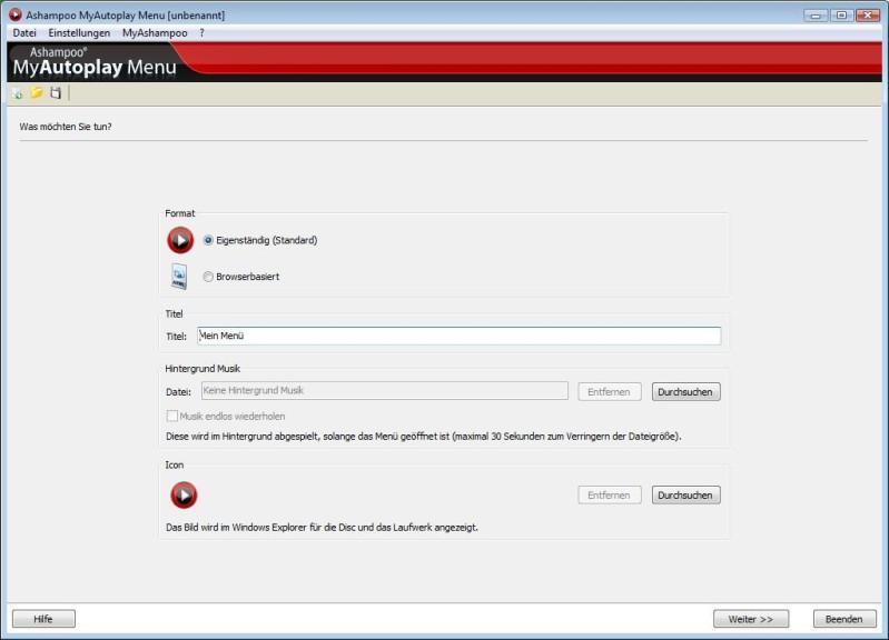 Screenshot 1 - Ashampoo MyAutoplay Menu – Kostenlose Vollversion