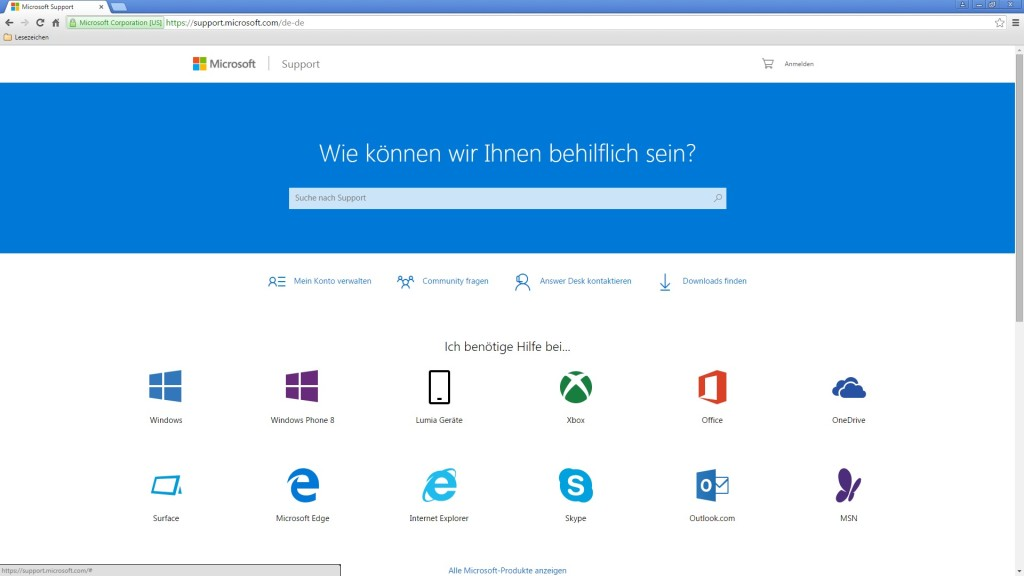 Screenshot 1 - Microsoft Support Center