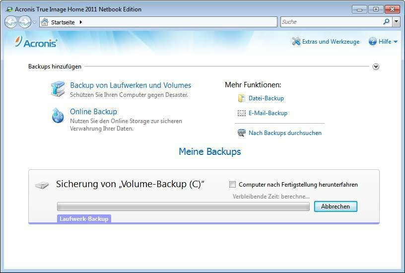Screenshot 1 - Acronis True Image Home 2011 Netbook Edition