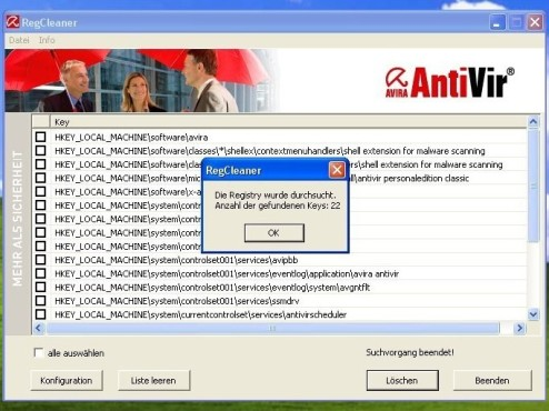 Avira AntiVir RegistryCleaner © Screenshot