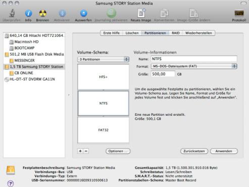 externe festplatte partition