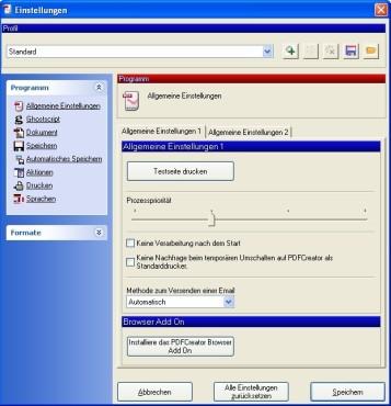PDFCreator: Programmeinstellungen anpassen