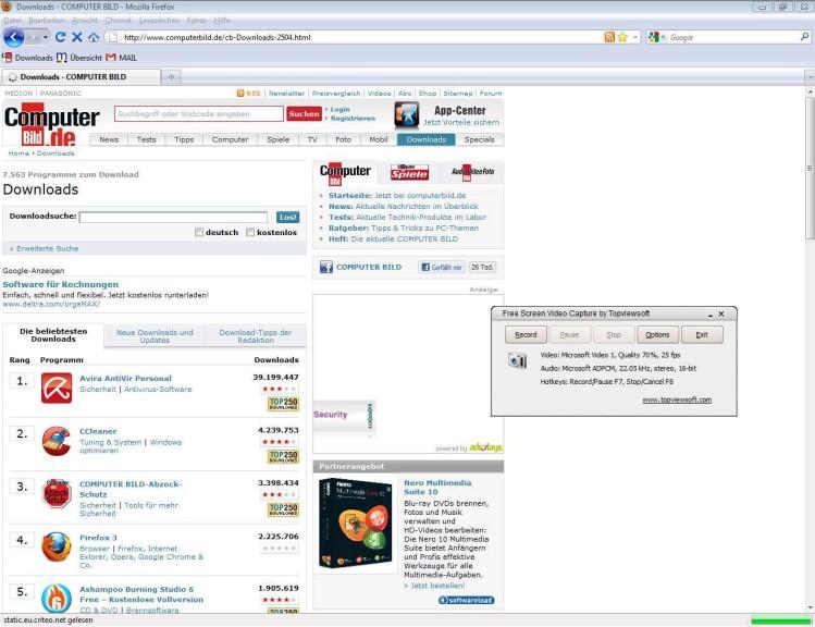 Screenshot 1 - Free Screen Video Capture