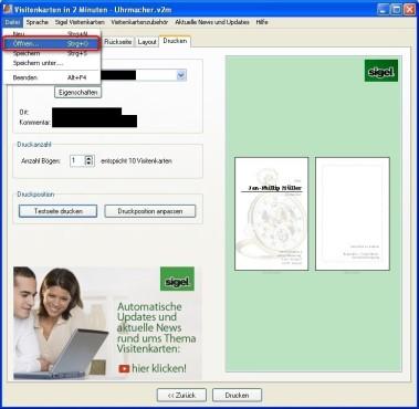 Visitenkarten in 2 Minuten: Gespeicherte Visitenkarte laden