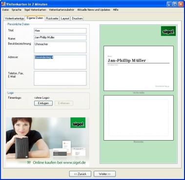 Visitenkarten in 2 Minuten: Persönliche Daten eintragen