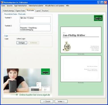 Visitenkarten in 2 Minuten: Rückseite bedrucken: Standardvisitenkarte