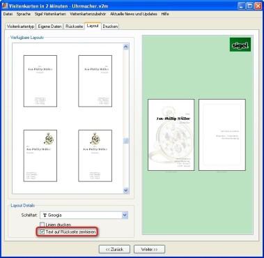 Visitenkarten in 2 Minuten: Rückseitentext zentrieren