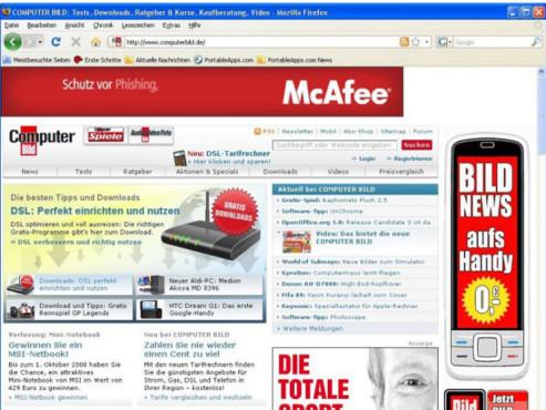 Firefox COMPUTER BILD 3.6 mit Speedtest ©Screenshot