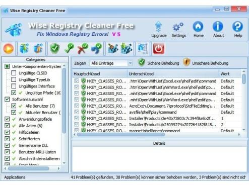 Wise Registry Cleaner Free ©Screenshot