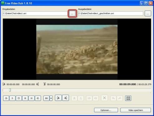 Free Video Dub: Video laden und abspielen