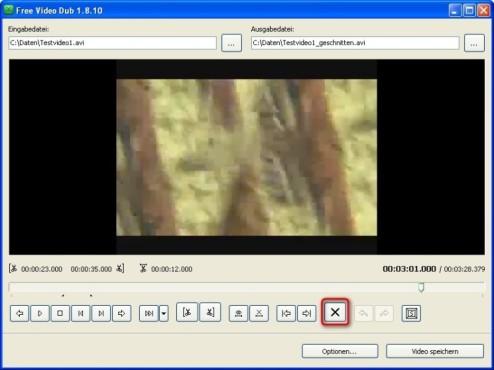 Free Video Dub: Videoausschnitt löschen