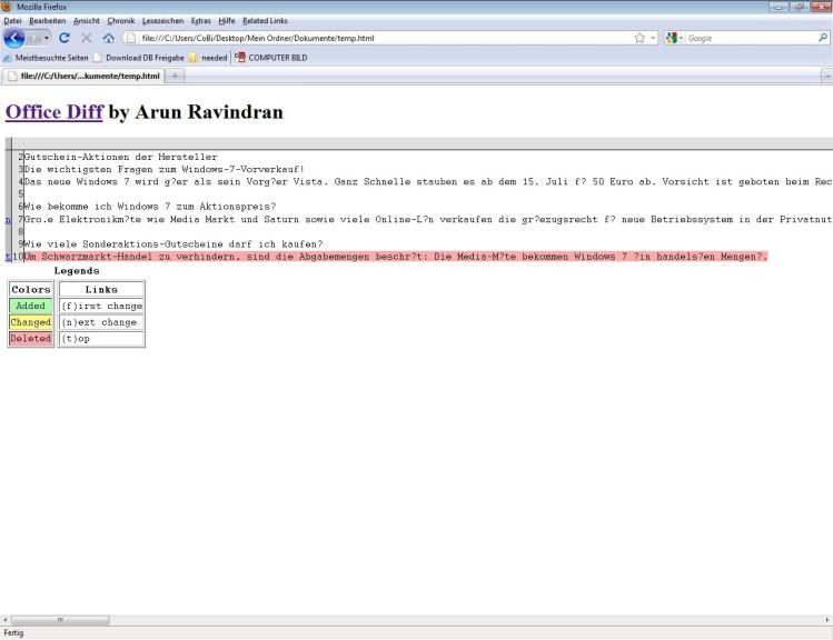 Screenshot 1 - Office Diff