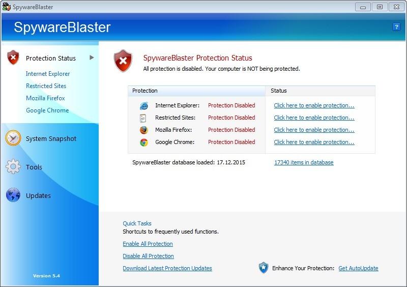 Screenshot 1 - SpywareBlaster