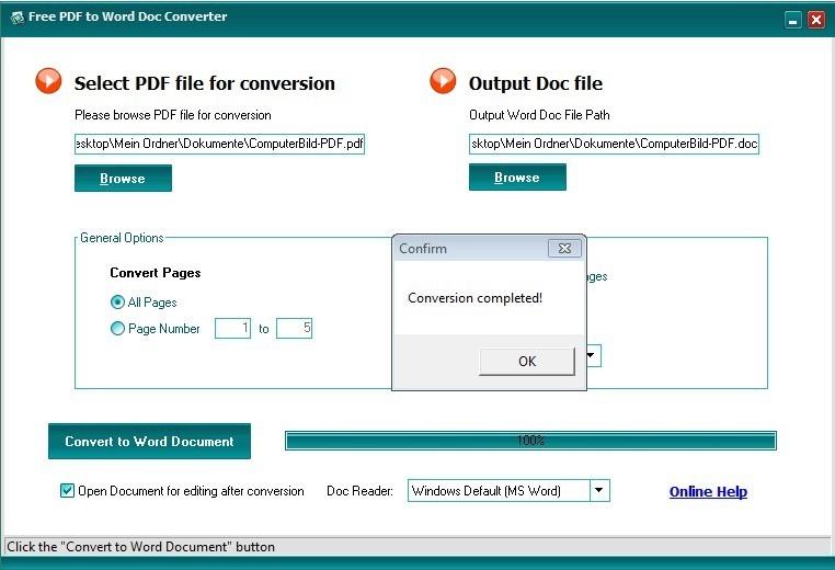 Screenshot 1 - Free PDF to Word Doc Converter