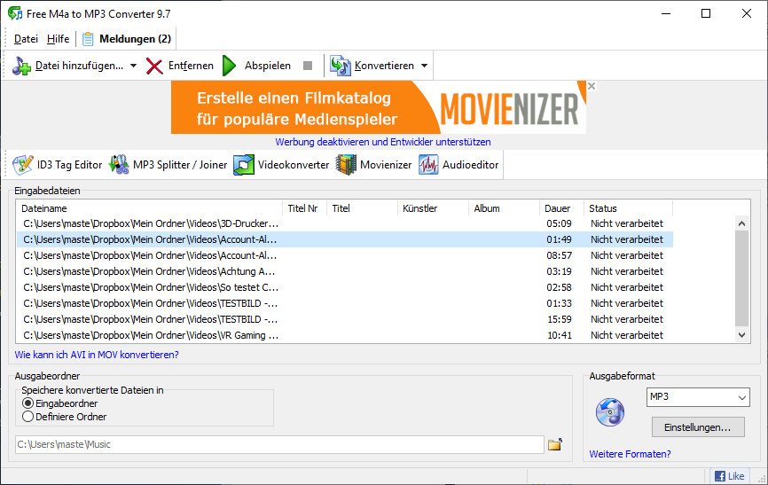 Screenshot 1 - Free M4a to MP3 Converter