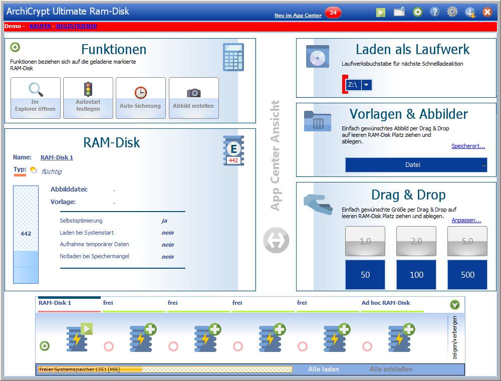 Screenshot 1 - ArchiCrypt Ultimate RAM-Disk
