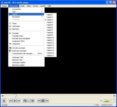VLC Media Player: DVD-Kapitel auswählen