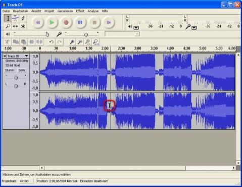 Audacity: Ausschnitt der Audiodatei markieren