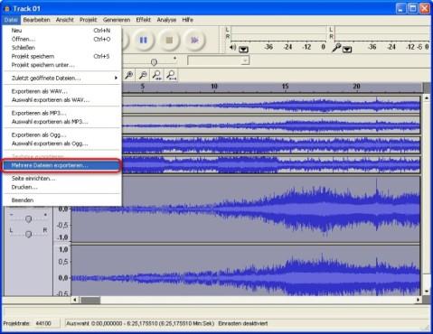 Audacity: Mehrere Dateien gleichzeitig umwandeln