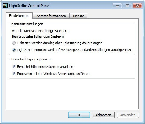 Screenshot 1 - LightScribe System Software