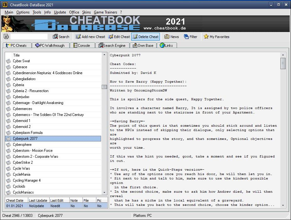 Screenshot 1 - CheatBook DataBase 2021