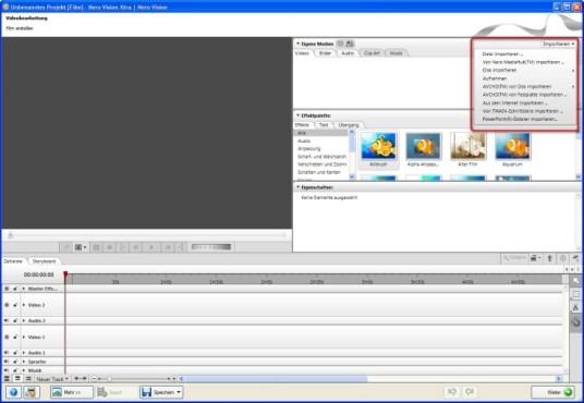 Nero: Videos und Fotos importieren