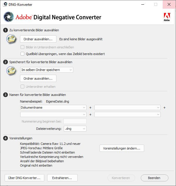 Screenshot 1 - Adobe DNG Converter & Camera Raw