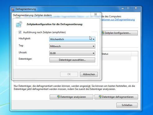 Intervall: Windows 7 Defragmentierung